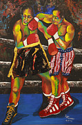 Boxing Mixed Media Framed Prints - On the ropes Framed Print by Lee Hodges