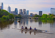 Row Boat Digital Art - On the Schuylkill by Bill Cannon