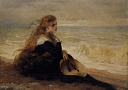 Historically Important Prints - On The Seashore Print by George Elgar Hicks