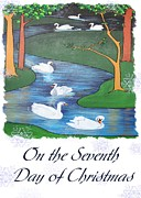 Love The Animal Posters - On The Seventh Day Of Christmas Poster by Tracey Harrington-Simpson