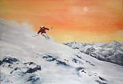 Ski Art Originals - On the Slopes by Jean Walker