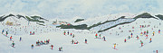 Mountain Snow Landscape Paintings - On the Slopes by Judy Joel