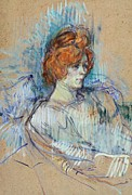 Portraiture Pastels Posters - On the stage Poster by Henri de Toulouse Lautrec