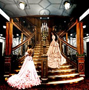 Staircase  Mixed Media Prints - On the Staircase of Titanic Print by Amanda Struz