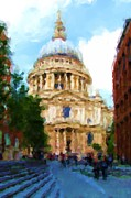 Saint Christopher Digital Art Posters - On the Steps of Saint Pauls Poster by Jenny Armitage