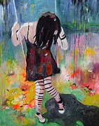 Child Swinging Paintings - On the swing by Tanja Vetter
