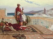 Tiled Painting Posters - On the Terrace Tangiers Poster by Rudolphe Ernst