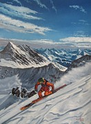 Ski Paintings - On The Top Of The World by Andrei Attila Mezei