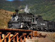 Narrow Gauge Photos - On the trestle by Ken Smith