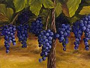Blue Grapes Painting Posters - On The Vine Poster by Darice Machel McGuire