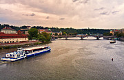 Vltava River Boat Prints - On the Vltava River - Prague Print by Madeline Ellis