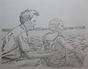 Father And Son Drawings - On the Water by Derek O Gorman