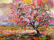 Pink Blossom Trees Prints - On The Way To Grandma There Is A Tree I Love Spring Print by Ginette Callaway