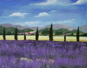 Purple Flowers Drawings - On the way to Roussillon by Anastasiya Malakhova