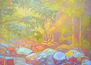 Expressionist Creek Oil Paintings - On the Way to the Cascades by Kendall Kessler