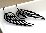 Perspex Jewelry Jewelry - On The Wings Of Love - black angel wings earrings by Rony Bank