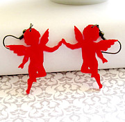Wings Jewelry - On The Wings Of Love - red angel earrings by Rony Bank