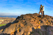 Great Britain Digital Art - On Top Of The World In Edinburgh - Arthurs Seat by Mark E Tisdale