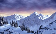 Snowscape Paintings - On Top of the World by Rick Bainbridge