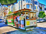 San Francisco Skyline Digital Art Prints - On Tram in San Francisco Print by Yury Malkov