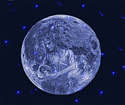 Man In The Moon Mixed Media Prints - Once in a Blue Moon Print by Alex Hardie