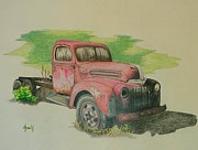 Ford Truck Drawings - Once Red by Lew Davis