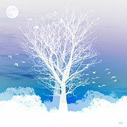 Tree Digital Art Prints - Once upon a moon lit night... Print by Holly Kempe