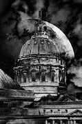 City Hall Prints - Once Upon A Time On A Warm Summers Night In San Francisco 5D22548 black and white Print by Wingsdomain Art and Photography