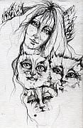 Angels Drawings Framed Prints - One Angel Three Cats Framed Print by Angel  Tarantella