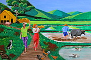 Rice Field Paintings - One Beautiful Morning in the Farm by Cyril Maza
