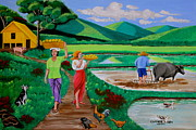 Nipa House Paintings - One Beautiful Morning in the Farm by Lorna Maza