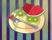 Kiwi Art Digital Art Framed Prints - One bite of watermelon Framed Print by Dessie Durham