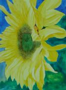 Sunflower Studio Art Framed Prints - One Bright Sunflower Colorful Original Art Floral Flowers Artist K. Joann Russell Decor Art  Framed Print by K Joann Russell
