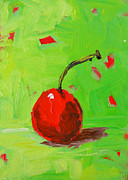 Interior Still Life Paintings - One Cherry by Patricia Awapara