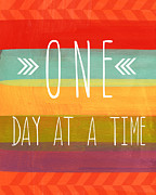 Stripes Mixed Media Posters - One Day At A Time Poster by Linda Woods