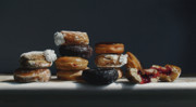 Gesso Prints - One Dozen Donuts Print by Larry Preston
