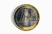 Wealth Prosperity Posters - One euro coin Poster by Sami Sarkis
