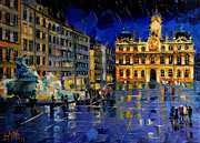 Facades Painting Posters - One Evening In Terreaux Square Lyon Poster by EMONA Art