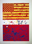 Pollack Mixed Media - One Flag by Anibal Garcia