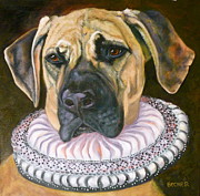 Collar Drawings Prints - One Formal Pooch Print by Susan A Becker
