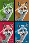 Fox Digital Art - One Fox Two Fox Red Fox Blue Fox by John Haldane