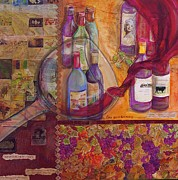 Mosaic Art Mixed Media Framed Prints - One Glass Too Many - Cabernet Framed Print by Debi Pople