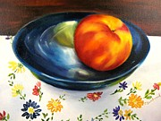 Linens Prints - One Good Peach Print by Carol Sweetwood