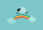 Sheep Digital Art Posters - One Happy Cloud Poster by Budi Satria Kwan
