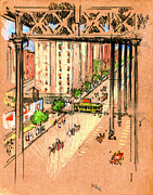 Carriages Posters - One Hundred and Tenth Street Elevated 1904 Poster by Padre Art