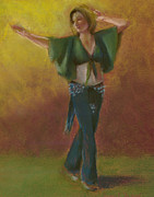 Dancing Girl Pastels Posters - One Hundred Belly Dancers Number Thirty Poster by Marie Marfia