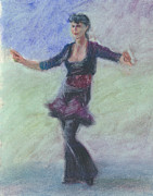 Dancing Girl Pastels Posters - One Hundred Belly Dancers Number Thirty-one Poster by Marie Marfia