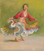 Dancing Girl Pastels Prints - One Hundred Belly Dancers Number Twenty-eight Print by Marie Marfia