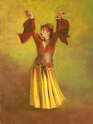 Dancing Girl Pastels Posters - One Hundred Belly Dancers Number Twenty-five Poster by Marie Marfia
