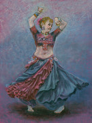 Dancing Girl Pastels Posters - One Hundred Belly Dancers Number Twenty-seven Poster by Marie Marfia